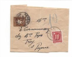 Suisse 1952 Bande De Journal Edelweiss Genève, Pour TREY, Timbre Taxe 10 Centimes - Ganzsachen