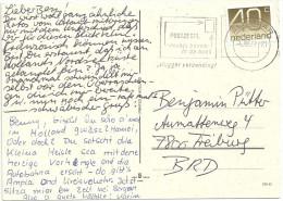 Niederlande 1976 Bildpostkarte Mit 40c Numerals Scott #549 U01 1044 1111 Mi 1068 C. 2 Scans. Alkmaar 4.8.77 - Periodo 1949 - 1980 (Giuliana)