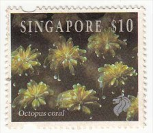 Singapore Used 1994, $10 Octopus Coral, Marine Life, - Singapore (1959-...)