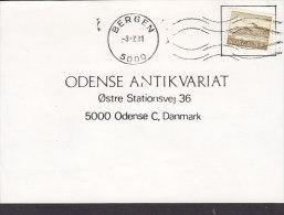 Norway Deluxe BERGEN 1981 Card Karte To ODENSE Denmark Zitadelle Steinviksholm Stamp (2 Scans) - Briefe U. Dokumente