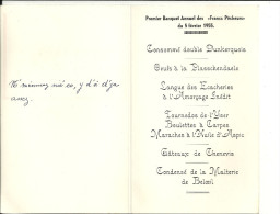 """BELOEIL   Banquet Annuel Des """" Francs Pecheurs""""  Malterie De Beloeil  5.02.1955 - Menus"""