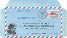 75° Anniversaire Traversée De La Méditerranée Par Rolland Garros 1913/1988 - Avions