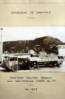 Fiche Technique CITRA D'un TRACTEUR Routier RENAULT Avec Semi Remorque CODER - Marcoule 1956 - Tools