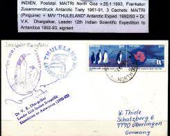 ANTARCTIC, INDIA, Expedition 1992/93 DAKSHIN GANGOTRI, Marking 26.1.1993 + Cachets + Signature !! - Antarctic Expeditions