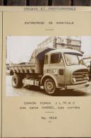 Fiche Technique CITRA D'un CAMION BENNE SOMUA JL 19 NC Avec Benne MARREL  - Entreprise De Marcoule 1956 - Machines