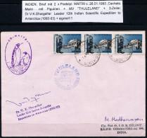 ANTARCTIC, INDIA, 12th Expedition 1992/93 MAITRI, Marking 26.1.1993 + Cachets + Signature !! - Antarctic Expeditions