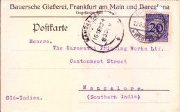 Germany 1924 Used Post Card Posted From Frunkfurt West 13 To Mangalore, India - Germany