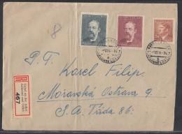 Böhmen Und Mähren R-Brief Mif Minr.100,138,139 Gabel An Der Adler 9.8.44 - Briefe U. Dokumente
