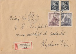 Böhmen Und Mähren R-Brief Mif Minr.2x 89,140,141 Königgrätz 24.4.45 Späte Verwendung - Böhmen Und Mähren
