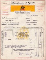 Facture  (1944) - Manufacture De Gants - RIGAUDY - SAUVETERRE LA LEMANCE (Lot & Garonne) - France