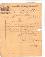 FACTURE DE 1834 -LYON -MAGASIN HABILLEMENTS AUX DEUX JUMEAUX -OBLITERATION CAD TREVOUX - 1800 – 1899