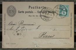 Carte Postale Affranchie Pour Paris Oblitération Zurich Enge - 1882-1906 Coat Of Arms, Standing Helvetia & UPU
