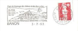 BANON CHEVRES LAVANDES PAYS GIONO PAGNOL PROVENCE  ENVELOPPE 22X11 CACHET OBLITERATION FLAMME EMA - 1961-....