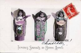 TENDRES SOUHAITS DE BONNE ANNEE, 3 Hübsche Mädchen, Gel.1909 - Humorvolle Karten