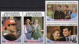 Ferguson/Andrew Hochzeit 1986 Grenadinen 497/0+ Paar ** 14€ Charles/ Lady Diana Und Familie Honey-moon Se-tenant Vincent - St.Vincent & Grenadines