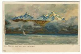"""1899, Zeno Diemer,  """"Der Santis (vom Bodensee Gesehen) """". Viaggiata- - Diemer, Zeno"""