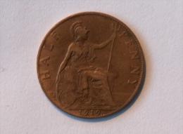 Grande-Bretagne 1/2 Half Penny 1919 - 1902-1971 : Monnaies Post-Victoriennes