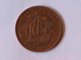 Grande-Bretagne 1/2 Half Penny 1946 - 1902-1971 : Monnaies Post-Victoriennes