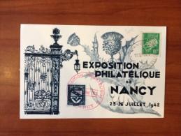 1942 Yvert 513 Seul Sur Carte Nancy Perforé EPN - 1921-1960: Periodo Moderno