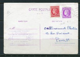 France 1946 Uprated Postal Stationary Card Paris - France