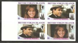 British Virgin Islands 1986 Andrew Royal Wedding $ 1 Pair - Imperforate Setenant Block 4 MNH - British Virgin Islands