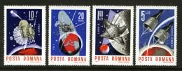 ROMANIA - 1966 SPACE ACHIEVEMENTS SET (4V) FINE MM * - 1948-.... Republics