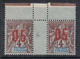 ANJOUAN N°21 N** En Paire Galvano, Variété Surcharge Espacée (2mm) Tenant à Normal - Anjouan (1892-1912)