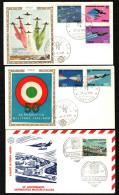 ITALIA FDC - 1973 - 50° ANNIVERSARIO DELL'AERONAUTICA MILITARE - LOTTO 3 BUSTE FDC FILAGRANO (COMPRESO POSTA AEREA) - 6. 1946-.. Republic