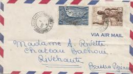 Congo AEF 1947 Brazzaville AEF Double Circle With Killer Blocks (British Type) Forest Cover - Brieven En Documenten