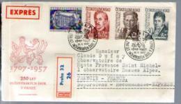 Tchécoslovaquie Expres FDC 1er Jour Recommandé BRNO CAD Praha 25-05-1957 / 4 TP Pour Observatoire Haute Provence - FDC