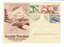 Jeux Olympiques Garmisch-Partenkirchen 1936 // Entier Postal Et Timbres - Winter 1936: Garmisch-Partenkirchen