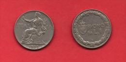 ITALY, 1923, Circulated Coin XF, 1 Lira, Nickel, KM62, C1917 - 1861-1946 : Kingdom