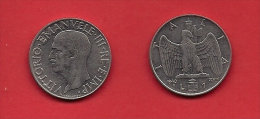 ITALY, 1940, Circulated Coin XF, 1 Lira, Nickel NON Magnetic, KM77a, C1919 - 1861-1946 : Kingdom