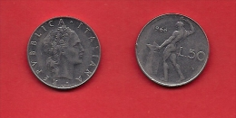 ITALY, 1966, Circulated Coin XF, 50 Lire, Stainless Steel, KM95, C1922 - 1946-… : Republic