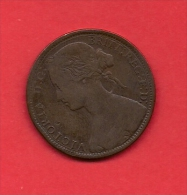 UK, 1866, Circulated Coin VF, 1 Penny, Young Victoria, Bronze, C1933 - D. 1 Penny