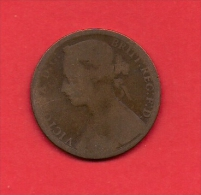UK, 1876, Circulated Coin VF, 1 Penny, Young Victoria, Bronze, C1936 - D. 1 Penny