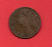UK, 1878, Circulated Coin VF, 1 Penny, Young Victoria, Bronze, C1938 - D. 1 Penny