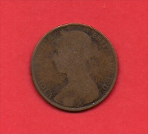 UK, 1885, Circulated Coin VF, 1 Penny, Young Victoria, Bronze, C1944 - D. 1 Penny