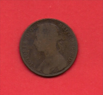UK, 1890, Circulated Coin VF, 1 Penny, Young Victoria, Bronze, C1948 - D. 1 Penny