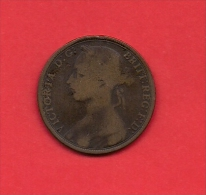 UK, 1891,, Circulated Coin VF, 1 Penny, Young Victoria, Bronze, C1949 - 1816-1901 : 19th C. Minting