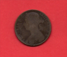 UK, 1892, Circulated Coin VF, 1 Penny, Young Victoria, Bronze, C1950 - 1816-1901 : 19th C. Minting