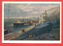 142747 / Russia  Art Vyacheslav Alekseevich Kandinskiy - Sangar Coal PORT SHIP MINE - Russie Russland - Cargos