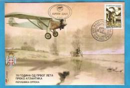 2002  239  FDC  BOSNIA REPUBLIKA SRPSKA  75 JAHRESTAG ERSTE ANTLANTIK UEBERQUERUNG IN ALLEINFLUG - Bosnia And Herzegovina