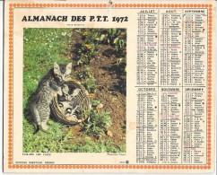 CALENDRIER - ALMANACH DES POSTES ET DES TELEGRAPHES - ANNEE 1972 - Département Du GARD - Calendars