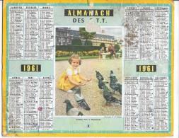 CALENDRIER - ALMANACH DES POSTES ET DES TELEGRAPHES - ANNEE 1961 - Département De SEINE ET MARNE - Calendriers
