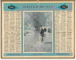 CALENDRIER - ALMANACH DES POSTES ET DES TELEGRAPHES - ANNEE 1963 - Calendari
