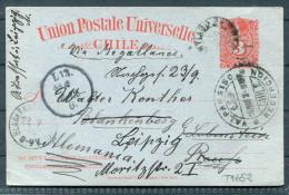 1902 Chile Stationery Valparaiso Blankenberg Redirected Leipzig 'via Magallanes' - Chile