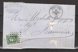 30 S/lettre De Eecloo Pour Frameries. - 1869-1883 Leopold II