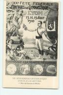 LYON - XXè Fête Fédérale - Concours De Gymnastique 13,14 Et 15 Août 1910 - Superbe Affiche En TBE - 2 Scans - Gimnasia