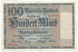 Germany 100 Mark 1922. Baverische Banknotes Munchen Xf+ - [11] Local Banknote Issues